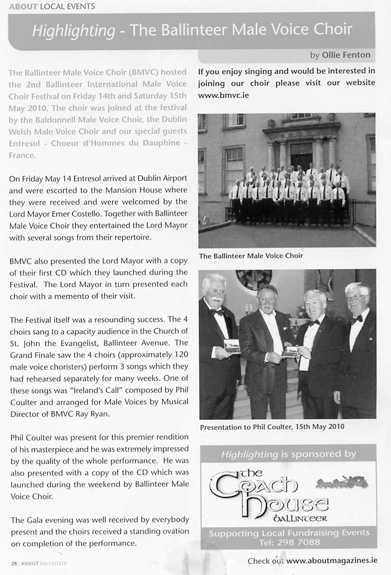 News & Events – Ballinteer Male Voice Choir